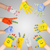 Painted children's hands — Stock Photo
