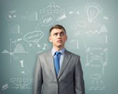 Businessman thinking about innovation in business — Stock Photo
