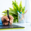 Close-up of a man's hand with a pen stylus — Stock Photo