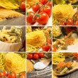 Pasta and cherry tomatoes, collage — Stock Photo