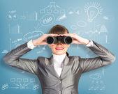 双眼鏡でみる女性実業家 — ストック写真