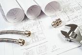 Domovní instalace a kresby, stavební zátiší — Stock fotografie