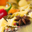 Close-up of anise, around the pasta — Stock Photo