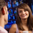 Nice woman at the bar — Stockfoto