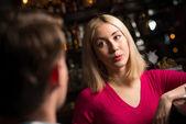 Nice woman at the bar — Stock Photo