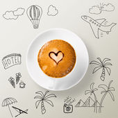 Сup of coffee around the sketches of your journey — Stock Photo