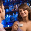 Portrait of a nice woman at the bar — Stock Photo