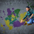Stock Photo: Male dancer with splashes of paint