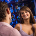 Nice woman at the bar — Stockfoto