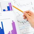 Female hand pointing pencil on financial charts — Stock Photo