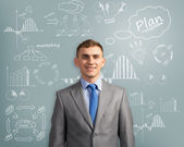 Businessman thinking about innovation — Stock Photo
