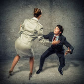 Two businessmen fighting as sumoist — Stock Photo