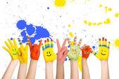Painted children's hands — Stock Photo