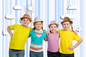 Children in hats — Stock Photo
