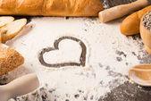 Flour and white bread — Stock Photo