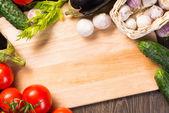 Gemüse auf dem brett küche — Stockfoto