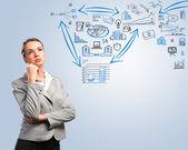思考ビジネス女性 — ストック写真