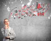 Thinking business woman — Stock Photo