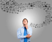 Thinking business man — Stockfoto