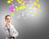 思考商业女性 — 图库照片