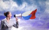 Business woman shouting — Stock Photo