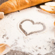 Flour and white bread — Stock Photo