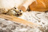 Flour, eggs, white bread, wheat ears — Stock Photo