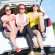 Young attractive woman sitting in the open trunk — Stock Photo