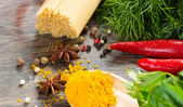 итальянские спагетти и овощи — Стоковое фото