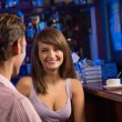 Portrait of a nice woman at the bar — 图库照片