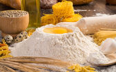 Flour, eggs, wheat still-life — Stok fotoğraf