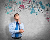 Thinking business man — Stock Photo