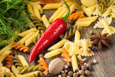 Chilli, herbs, Italian pasta and spices — Stock Photo