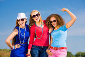 Three young girls having fun — Stock Photo