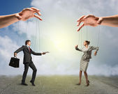 Two puppet businessman — Stock Photo