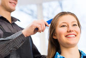 Hairdresser and client — Stock Photo