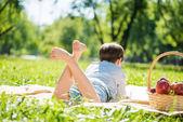 Boy at picnic — Foto Stock