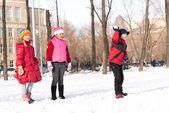 Children in Winter Park — Stock Photo