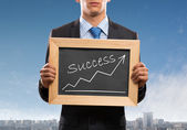 Podnikatel s rámem — Stock fotografie