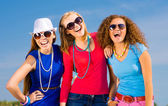Three young girls having fun — Stock Photo