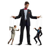 Puppeteer and puppet business — Stock Photo