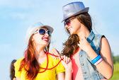 Two young girlfriends having fun — Stock Photo