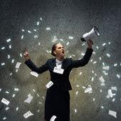 Businesswoman screaming — Stock Photo