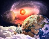 Empresaria meditando — Foto de Stock