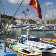 Colorful fishing boats in harbor of nice — Stock Photo #18154515