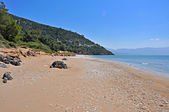 Empty beach on greek island samos — Stock Photo