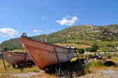Two old fishing boats on land — Stock Photo