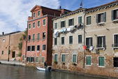 Venice waterfront houses, Italy — Stock Photo