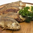 Crucians fried roast grilled a fish meal — Stock Photo