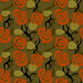 Floral seamless pattern background with roses and leaves — Stock Vector